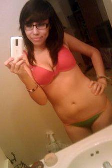 Sexy Young Bookworm Brunette Teen Selfshot.