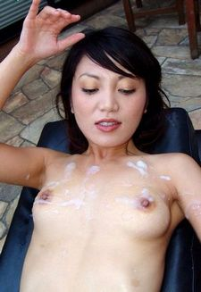 Cum on flat asian tits.